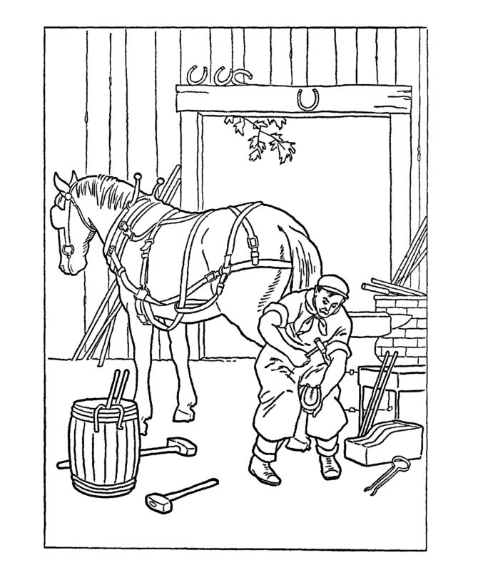 Early American Trades Coloring Page Teaching Social Colonial America Coloring Pages