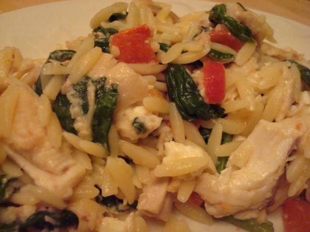 Quick Greek Spinach and Chicken Orzo | Recipe