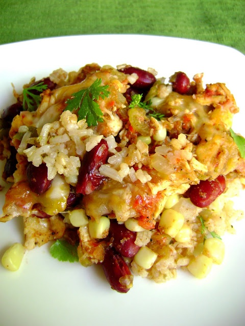 ... again. Not overwhelmed myself. Layered Mexican Chicken Rice Casserole