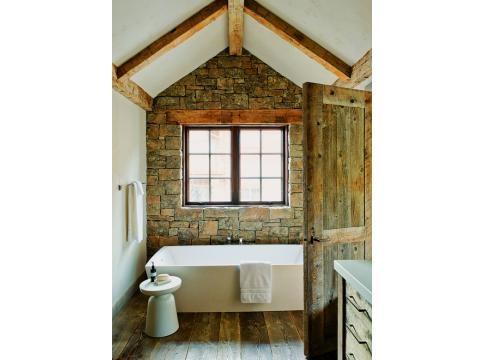 Rustic bathroom yellowstone club montana home stone wall wood