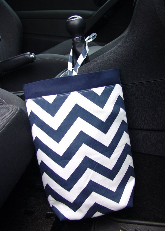Car Trash Bag Navy Blue and White Chevron by GreenGoose on Etsy
