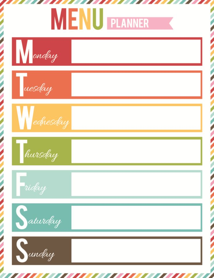 It is a graphic of Bright Printable Menu Planner