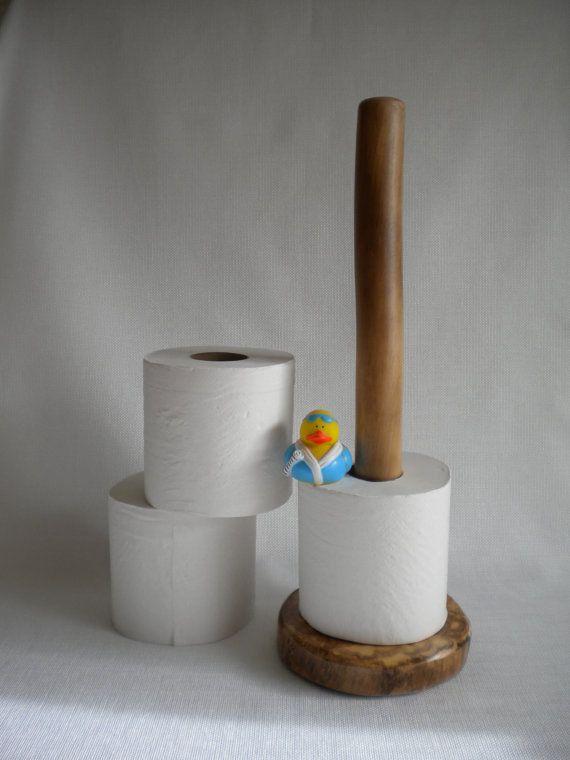 Toilet Paper Holder Storage Standing Rustic Log Bathroom