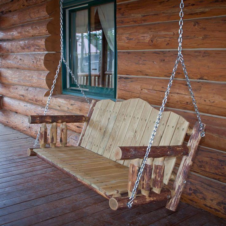 rustic porches | Amish Rustic Log Porch Swing : Pinecraft.com