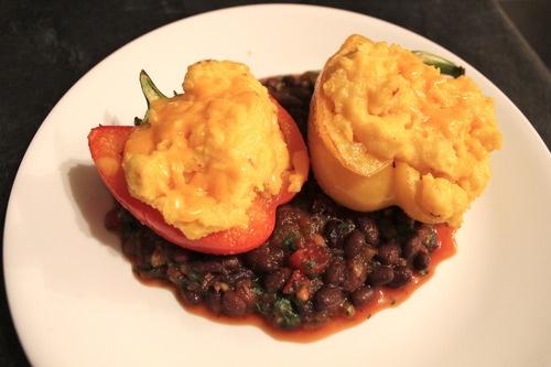 Moosewood Mexican Polenta-Stuffed Peppers- yummm