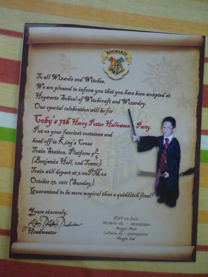 Hogwarts Acceptance Letter Invitation