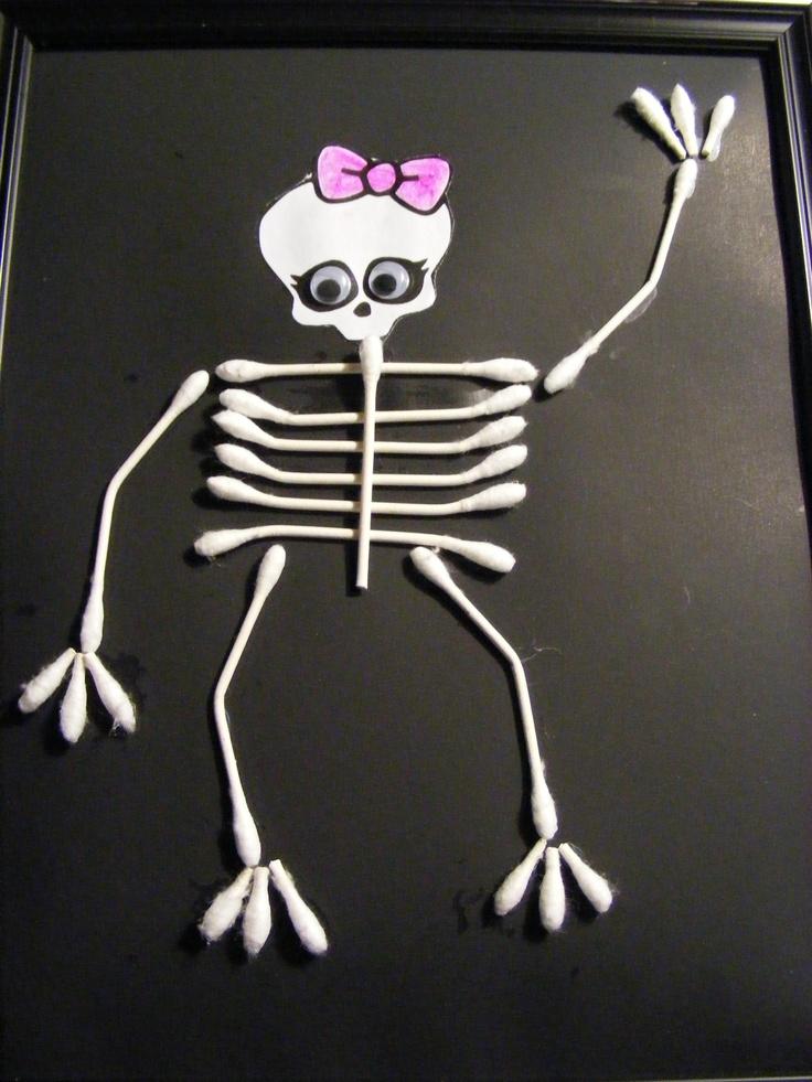 Finished monster high q tip skeleton halloween spook a for Q tip skeleton template