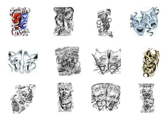 Эскизы татуировок с масками
