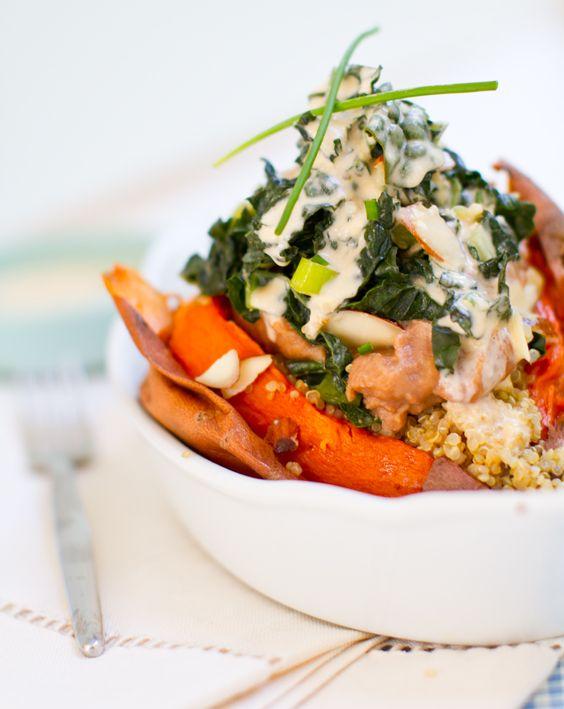 kale, mushroom, quinoa, & refried beans stuffed sweet potato.