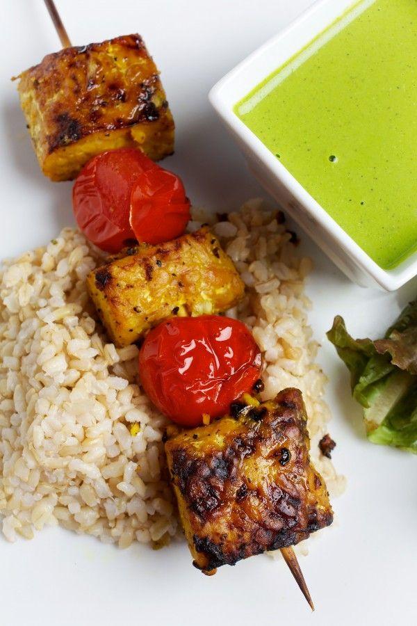 Tofu Kebabs With Cilantro Sauce Recipe — Dishmaps