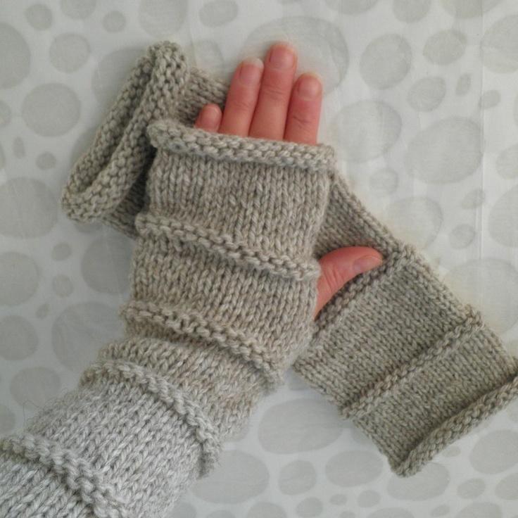 Beginners Knitting Pattern For Fingerless Gloves : OSLO Knitting Pattern Fingerless Gloves for Men and Women EASY Beginners Level