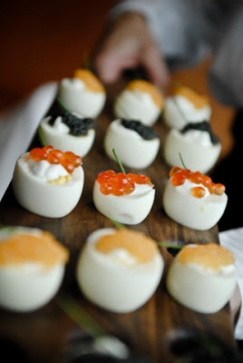 Deviled eggs with creme fraiceh, caviar & chive garnish or herbed ...