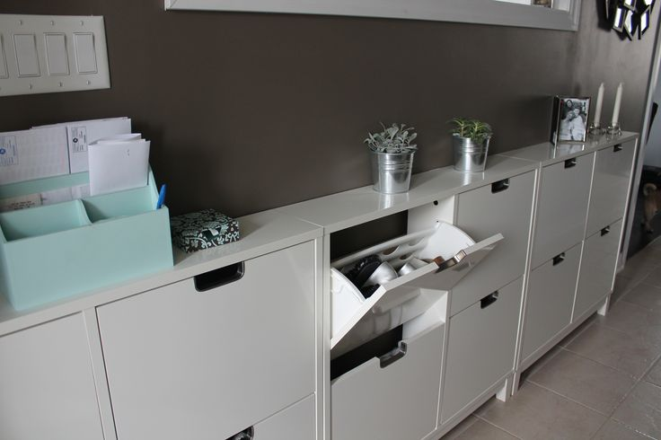 Ikea stall shoe cabinet keeps shoes tucked away neat and tidy also gives you a place for mail - Shoe cabinet for small spaces concept ...