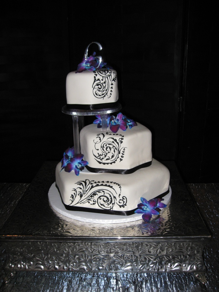 Blue And Purple Orchid Wedding Cake Ideas