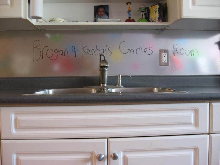 galvanized backsplash in our boy 39 s playroom dry erase marker wipes