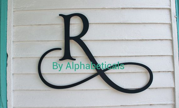Wooden initial monogram wall hanging wall decor wooden for Wrought iron letters script