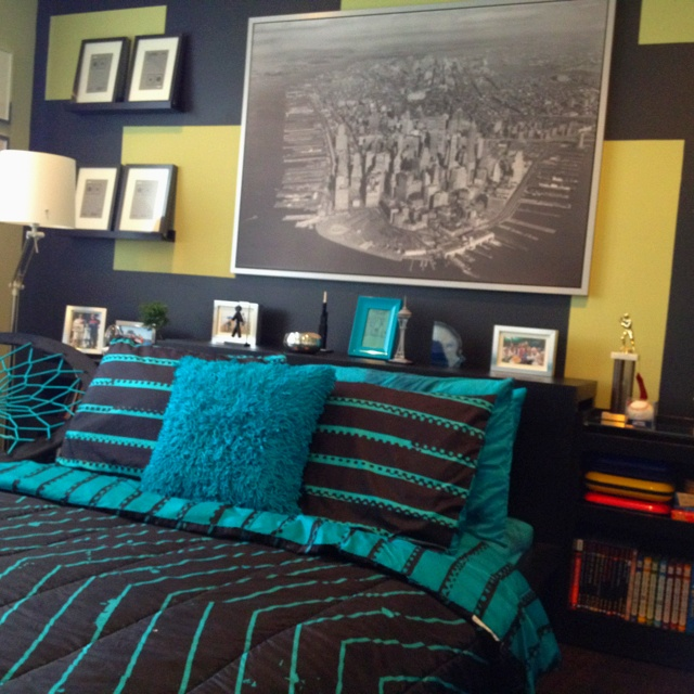 Teal And Black Teen Boy Bedroom Kid 39 S Bedroom Ideas Pinterest