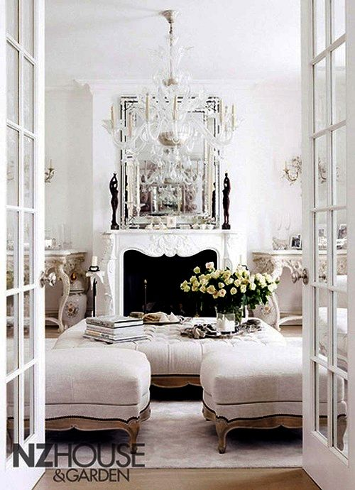 White french living room dream home living room for Living room in french
