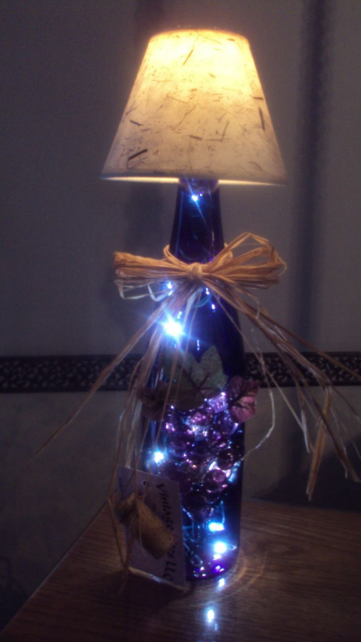 wine bottle lamp with shade in deep cobalt blue with. Black Bedroom Furniture Sets. Home Design Ideas