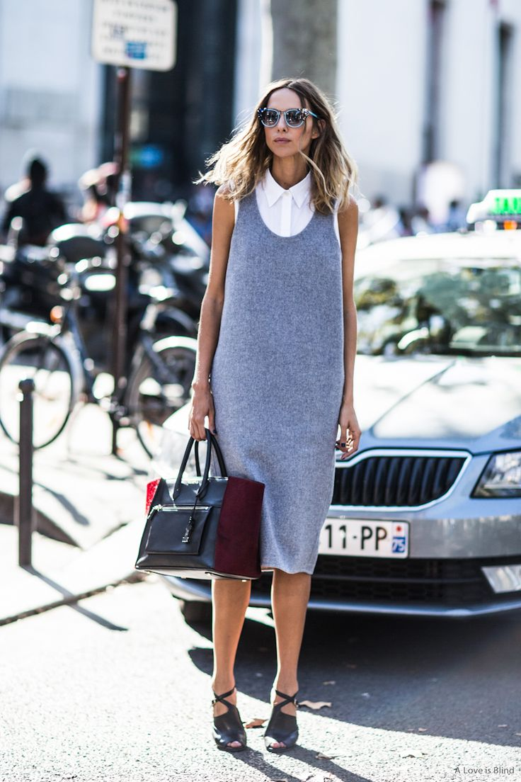 A simple shift dress over a white shirt makes a beautiful uncomplicated outfit #WTfashion