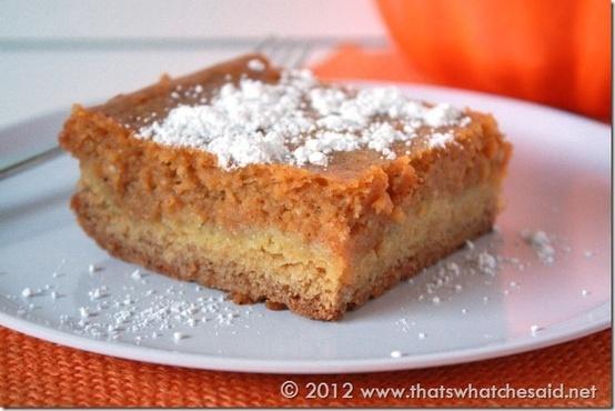 Pumpkin Gooey Butter cake.   Let Them Eat Cake   Pinterest