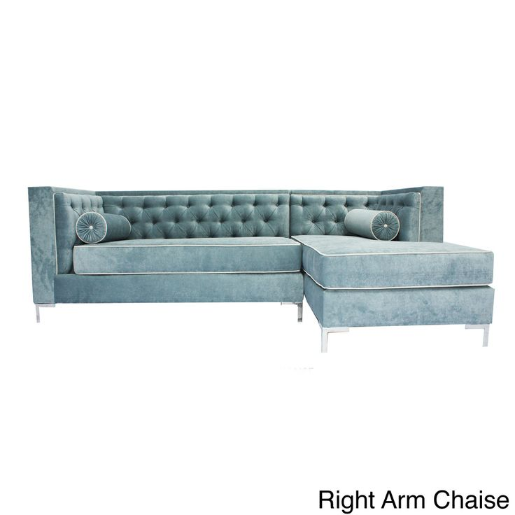 Decenni custom furniture 39 tobias 39 wedgewood blue tufted 8 for 8 foot couch