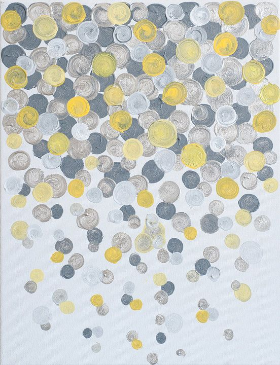 11x14 canvas painting confetti yellow grey for Yellow and gray paint
