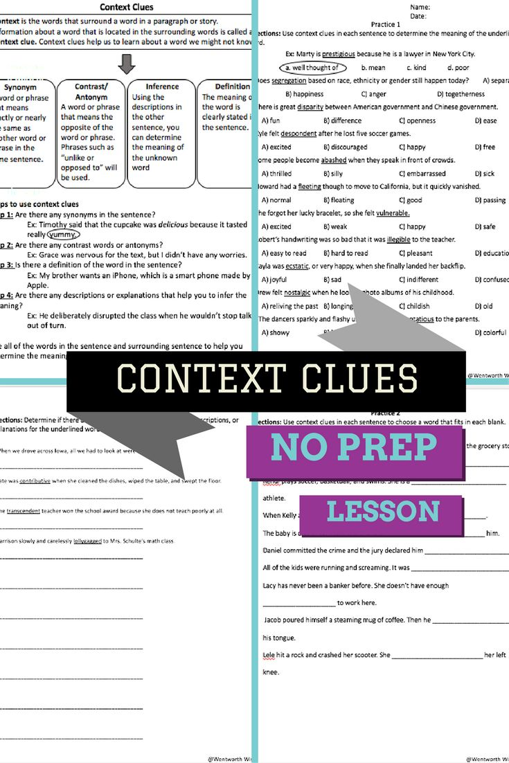 Context clues worksheets 2nd grade