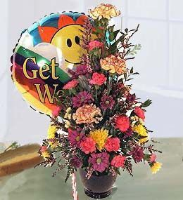 get well flowers and balloons
