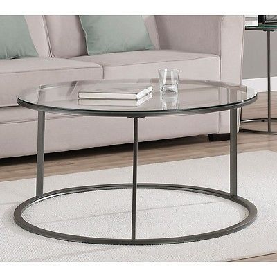 MODERN GLASS METAL ROUND ACCENT COFFEE COCKTAIL TABLE NEW