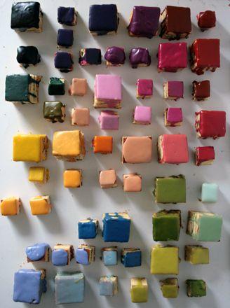 Rainbow petit fours, so pretty!