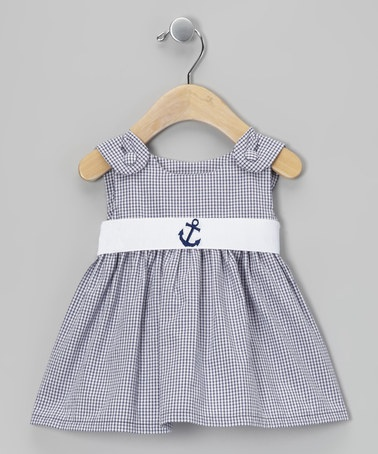 Take a look at this Navy Gingham Anchor Sash Dress - Infant, Toddler & Girls by Princess Linens on #zulily today!