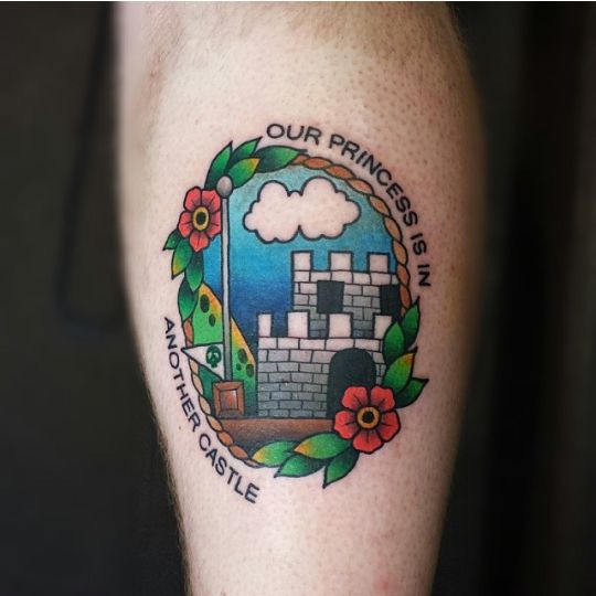 mario bros tattoo by zane donnellan tattoonia pinterest. Black Bedroom Furniture Sets. Home Design Ideas
