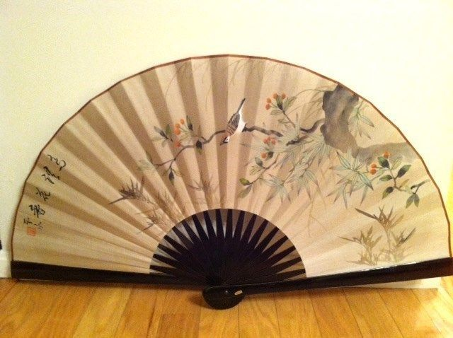 Decorative Wall Fans : Large asian fan decorative wall open bamboo