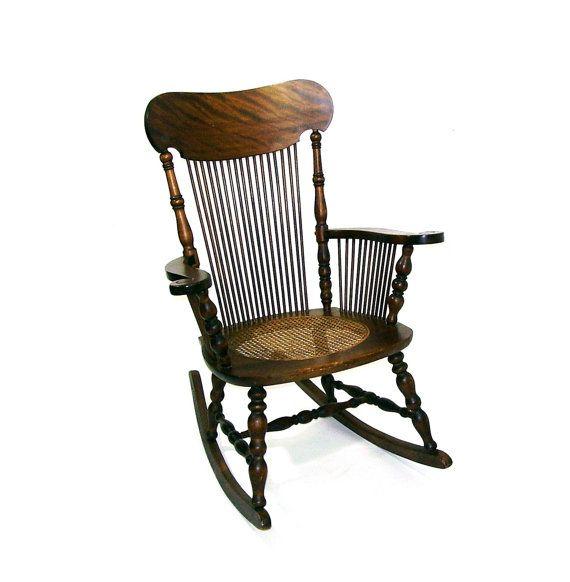 Vintage Rocking Chair Antique Tiger Oak Rocker by OceansideCastle, $ ...