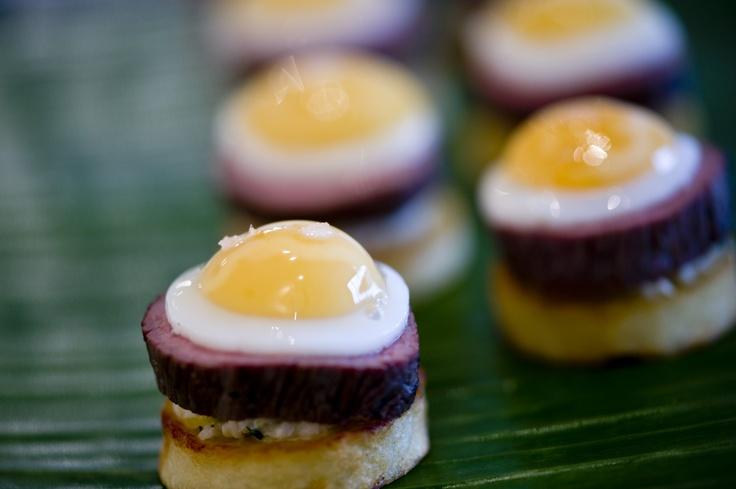 Steak potato and quail egg canap party bites hors d for Quail egg canape