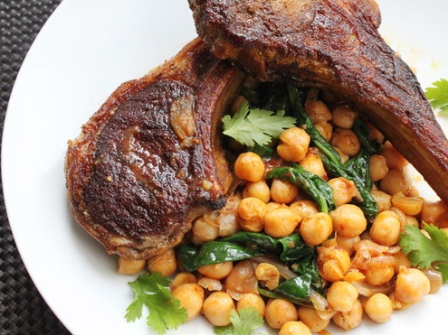 Skillet Suppers: Lamb Chops with Harissa, Spinach and Chickpeas