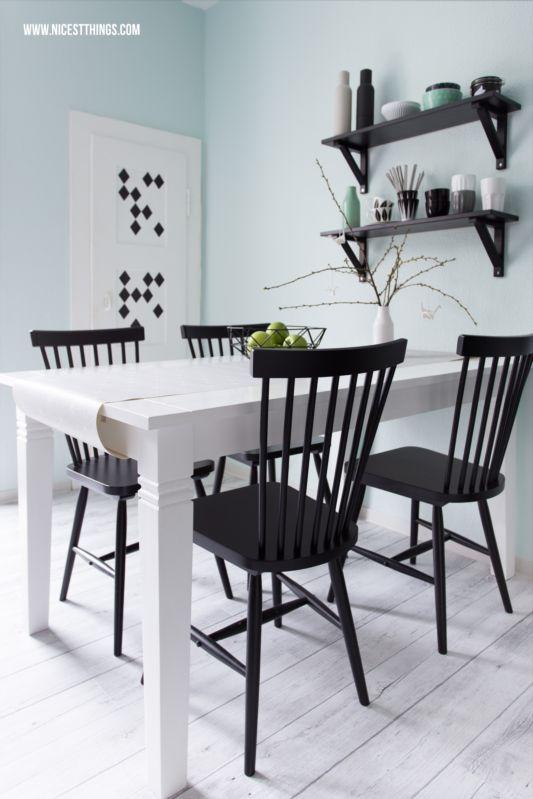 Runder Holz Esstisch Holz Weiss : Esstisch Weiß Holz Wandfarbe Mint  black and white  Pinterest