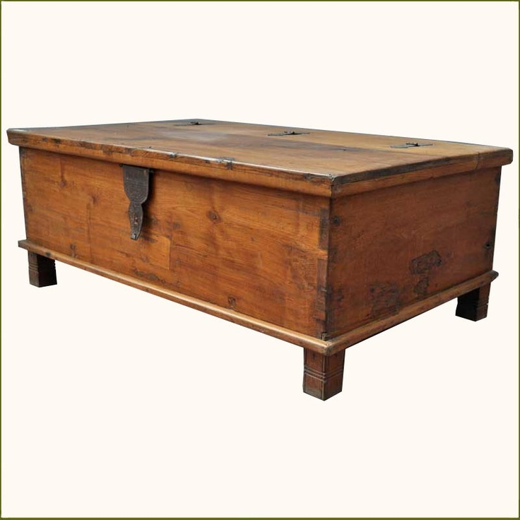 Rustic teak wood wrought iron distressed coffee table storage box che Coffee table chest with storage