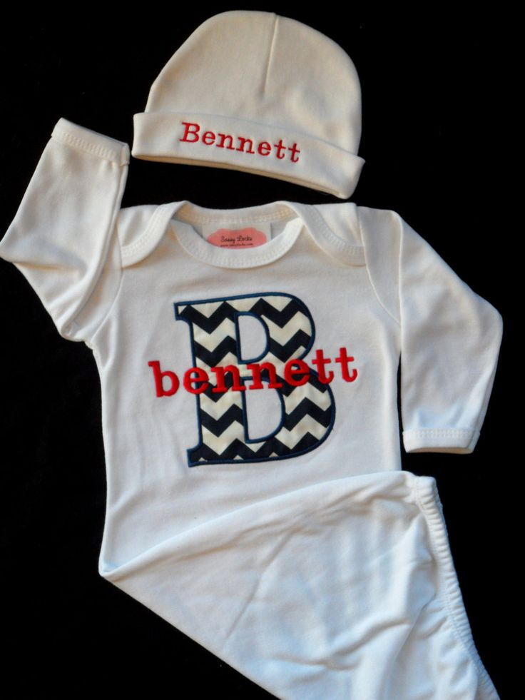 Chevron Personalized Baby Boy Clothes Layette Gown and