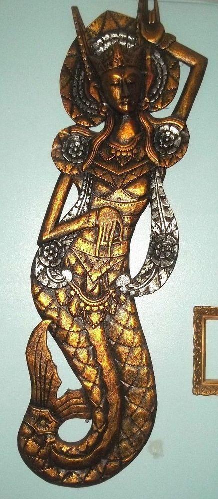 Balinese mermaid goddess panel hand carved wood bali folk