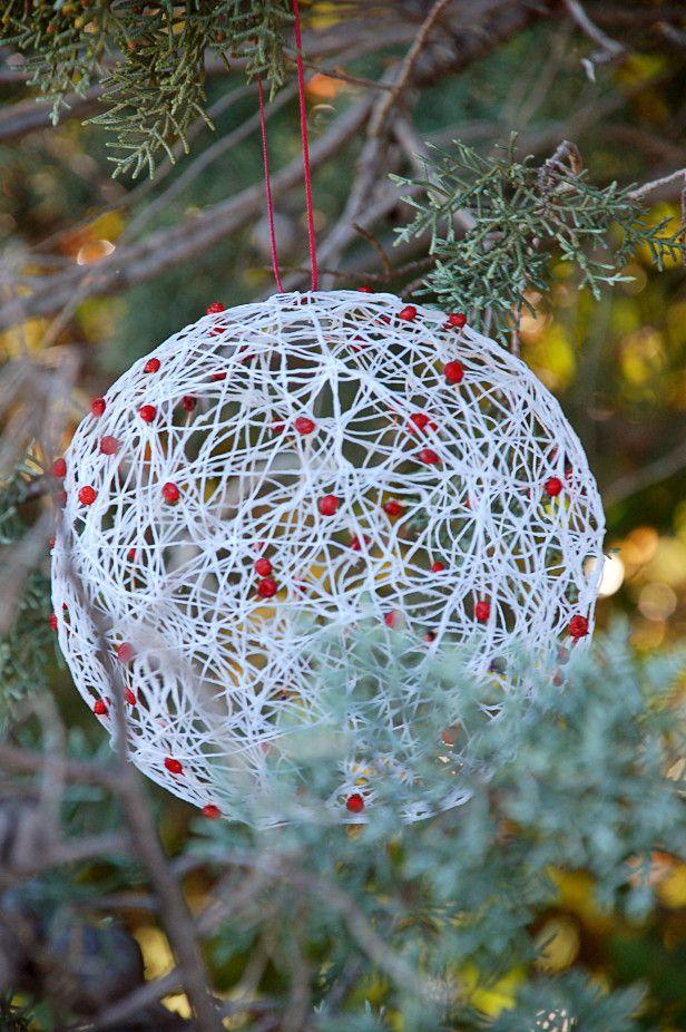 Diy holiday string ornaments craftastic pinterest - String ornaments christmas ...