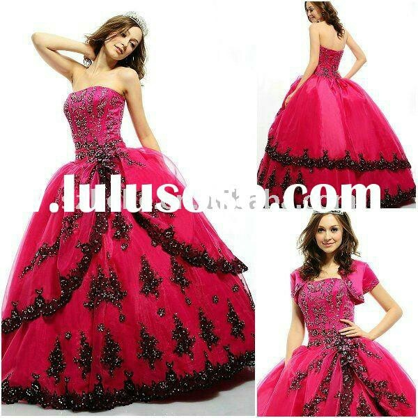Hot pink and black wedding dress wedding possibilities for Black and pink wedding dress