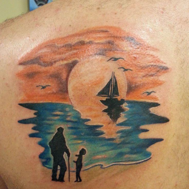 Grandpa and me beach scene tattoo pinterest for Beach scene tattoos