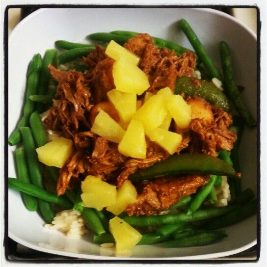 Hawaiian pulled pork with water chestnuts, snap peas, green beans and ...