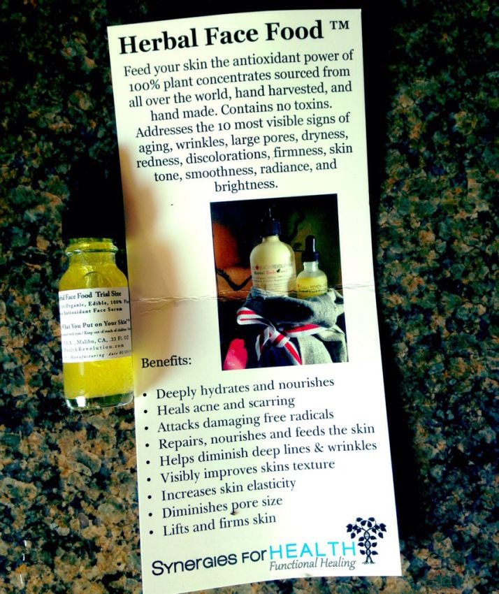 Herbal face food serum