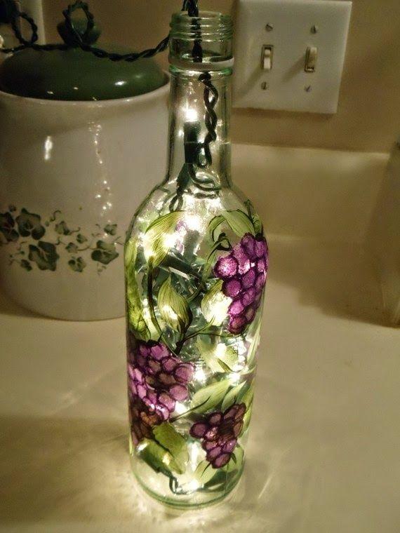 Wine bottle light cali sunrise unique crafts pinterest for Light up wine bottles