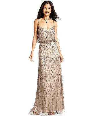 Papell Dress Spaghetti Strap Beaded Blouson Gown Womens Dresses Macy S