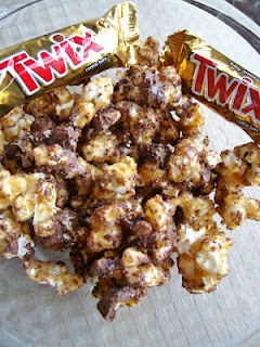 Twix caramel popcorn: caramel popcorn drizzled with melted chocolate ...