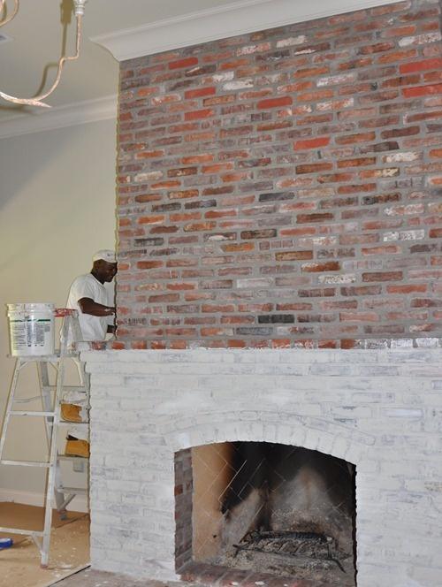 Lime Brick On Image : Lime washing brick fireplace newhairstylesformen